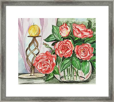 Roses With Candle Stand  Framed Print by Pushpa Sharma