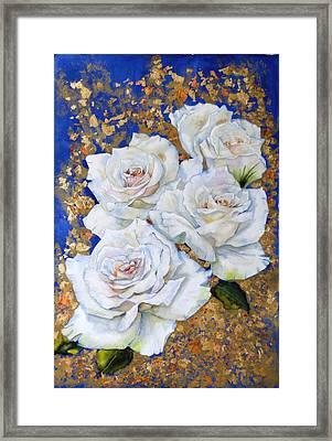 Roses With Gold Leaf Framed Print