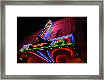Roseville Theater Neon Sign Framed Print by Melany Sarafis
