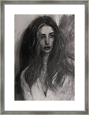 Framed Print featuring the painting Rosie Huntington-whiteley by Jarko Aka Lui Grande