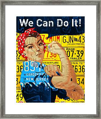 Rosie The Riveter We Can Do It Promotional Poster Recycled License Plate Art Framed Print by Design Turnpike