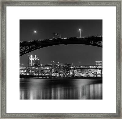Ross Island Bridge At Night Framed Print by Zeb Andrews