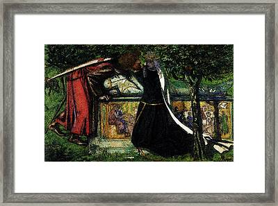 Rossetti Dante Gabriel Arthur S Tomb The Last Meeting Of Lancelot And Guinevere Framed Print by Dante Gabriel Rossetti