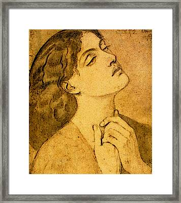 Rossetti Dante Gabriel Study Of Guinevere For Sir Lancelot In The Queen S Chamber Framed Print by Dante Gabriel Rossetti