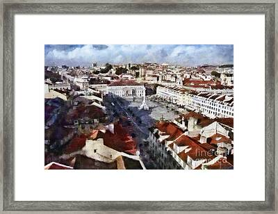 Framed Print featuring the photograph Rossio Square by Dariusz Gudowicz