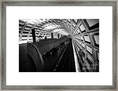 rosslyn double level mezzanine level metro underground train system Washington DC USA Framed Print