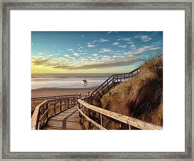 Rossnowlagh Beach At The End Of The Day - With A Horse Framed Print