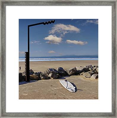 Rossnowlagh Beach On The Wild Atlantic Way With A Surfboard And Rocks Framed Print