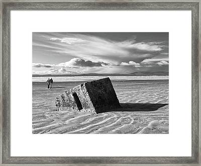 Rossnowlagh Beach - The Old Wartime Fortifications Sinking In The Sand With A Dramatic Sky Framed Print