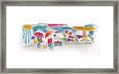 Rostock Market In The Rain Framed Print by Pat Katz
