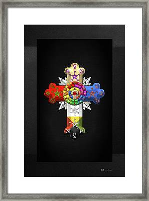 Rosy Cross - Rose Croix On Black Canvas Framed Print by Serge Averbukh