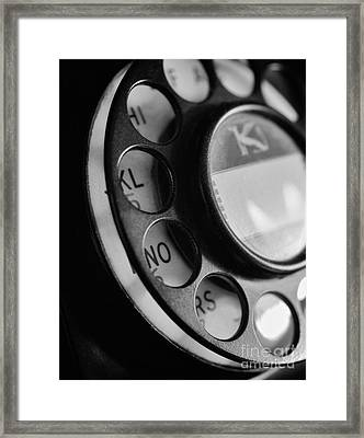 Rotary Dial In Black And White Framed Print by Mark Miller