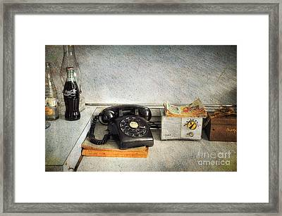 Rotary Dial Phone In Black S And H Stamps Framed Print by Paul Ward