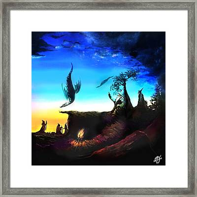 Rotatable Art Wizards Walking With Dragons Framed Print by Frank Franklin