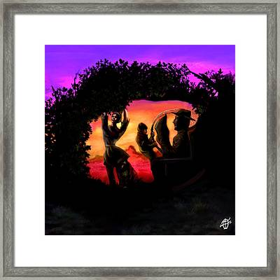 Rotatable Artwork Picking Grapes In The Purple Haze Framed Print