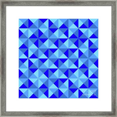 Rotated Blue Triangles Framed Print by Ron Brown