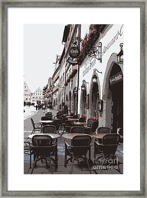 Rothenburg Cafe - Digital Framed Print by Carol Groenen