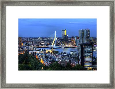 Framed Print featuring the photograph Rotterdam Skyline With Erasmus Bridge by Shawn Everhart