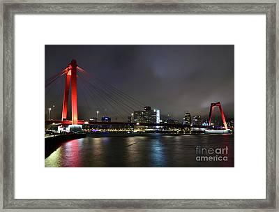 Rotterdam - Willemsbrug At Night Framed Print