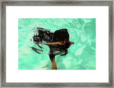 Rottweiler Dog Swimming Framed Print by Sally Weigand