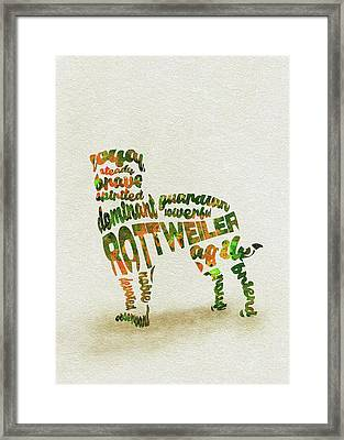 Framed Print featuring the painting Rottweiler Dog Watercolor Painting / Typographic Art by Inspirowl Design