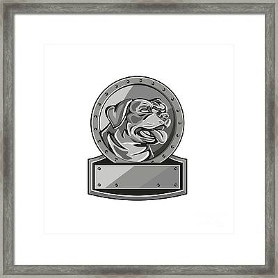 Rottweiler Guard Dog Shield Metallic Circle Retro Framed Print by Aloysius Patrimonio
