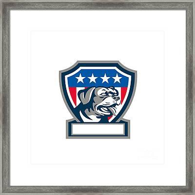 Rottweiler Guard Dog Usa Flag Crest Retro Framed Print by Aloysius Patrimonio