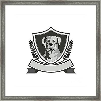 Rottweiler Head Laurel Leaves Crest Black And White Framed Print by Aloysius Patrimonio