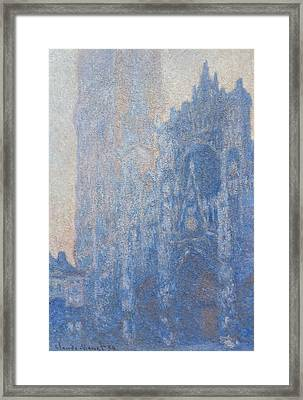 Rouen Cathedral Facade And Tour D Albane Morning Effect Framed Print