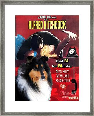 Rough Collie Art Canvas Print - Dial M For Murder Movie Poster Framed Print by Sandra Sij