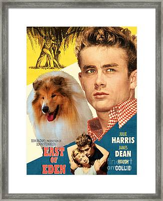 Rough Collie Art Canvas Print - East Of Eden Movie Poster Framed Print by Sandra Sij