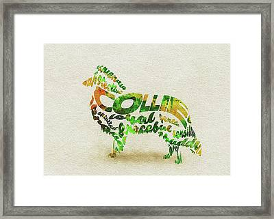 Rough Collie Watercolor Painting / Typographic Art Framed Print