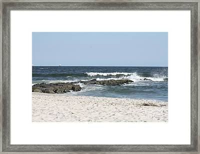 Rough High Tide Covering Jetty Framed Print by John Telfer