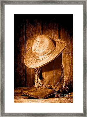 Rough Rider - Sepia Framed Print by Olivier Le Queinec