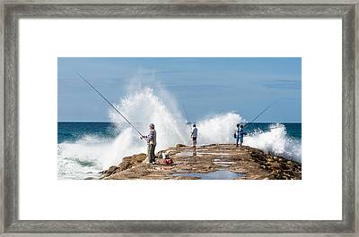 Rough Sea Fishing Framed Print