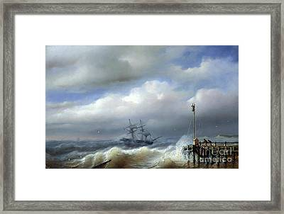 Rough Sea In Stormy Weather Framed Print by Paul Jean Clays