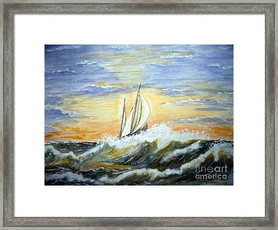 Framed Print featuring the painting Rough Seas by Carol Grimes