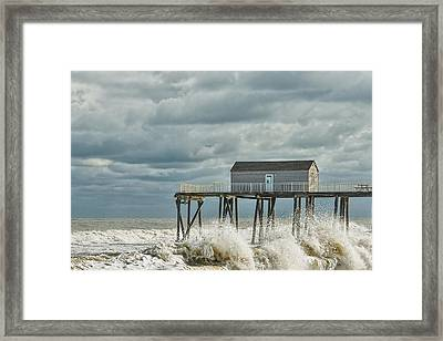 Rough Surf At The Fishing Pier Framed Print
