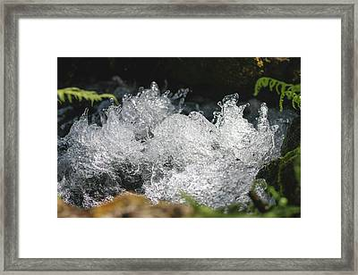 Framed Print featuring the photograph Rough Water Splash by Raphael Lopez