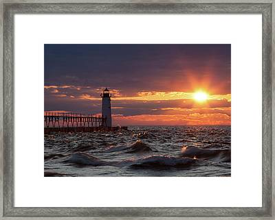Framed Print featuring the photograph Rough Water Sunset by Fran Riley