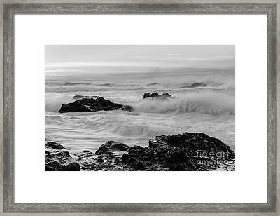 Rough Waves In Black And White Framed Print by Masako Metz