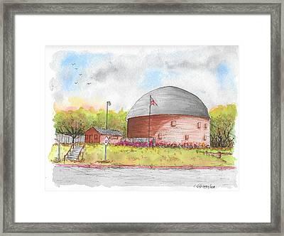 Round Barn In Route 66, Arcadia, Oklahoma Framed Print
