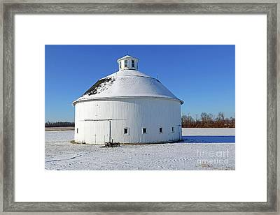 Round Barn In The Snow Framed Print