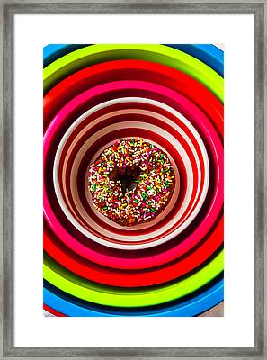 Round Bowl With Donut Framed Print by Garry Gay