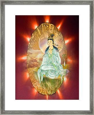 Round Halo Kuan Yin Framed Print by Lanjee Chee