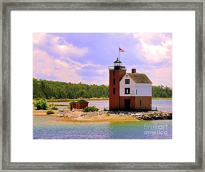 Round Island Lighthouse Framed Print