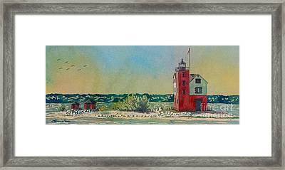 Framed Print featuring the painting Round Island Lighthouse by LeAnne Sowa