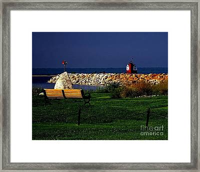 Round Island Lighthouse Mackinac Island Michigan Framed Print