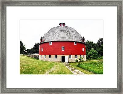 Round Red Barn Framed Print by Daniel Ness