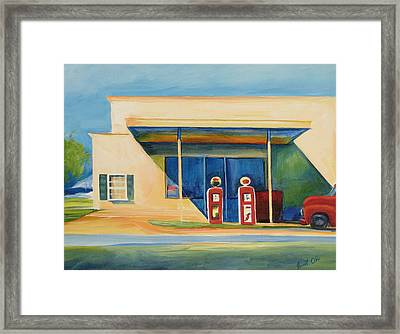 Round Rock Gas Station Framed Print by Janet Oh